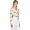 3.1 Phillip Lim White and Black Ribbed Striped Cardigan