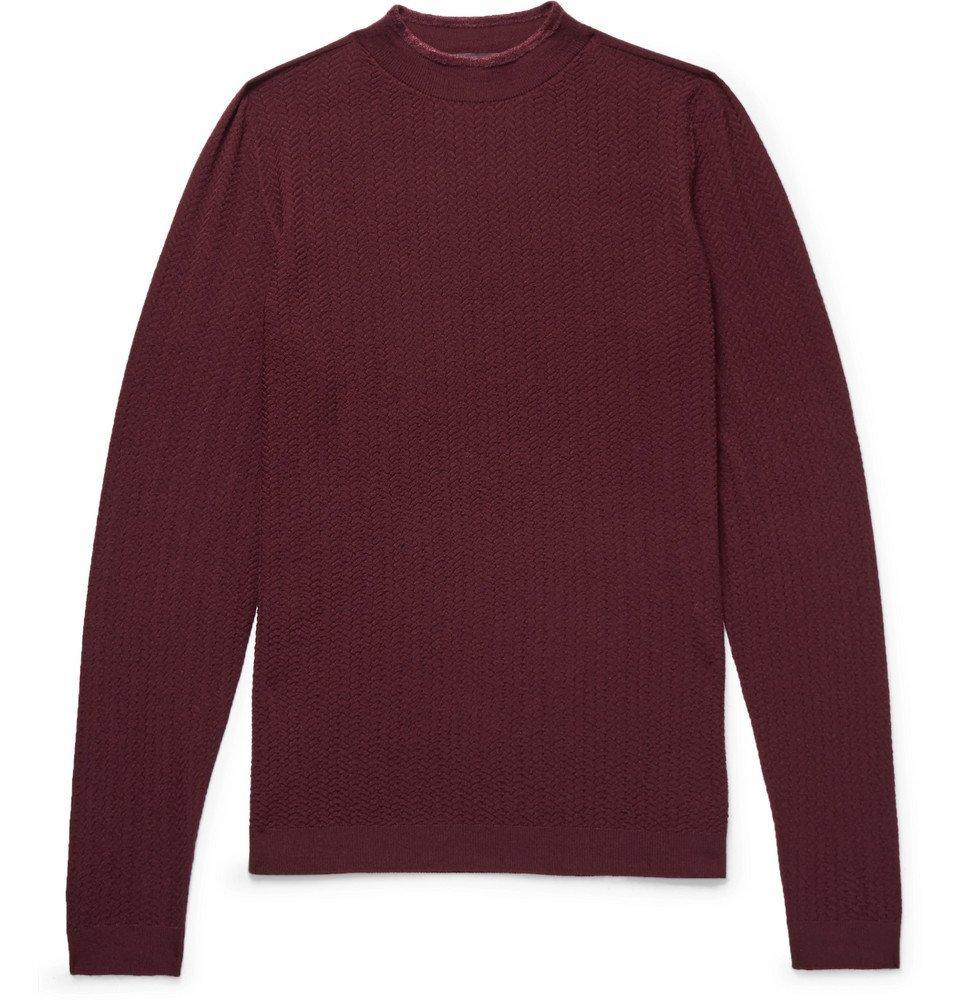 Giorgio Armani - Herringbone Virgin Wool-Blend Sweater - Men - Burgundy
