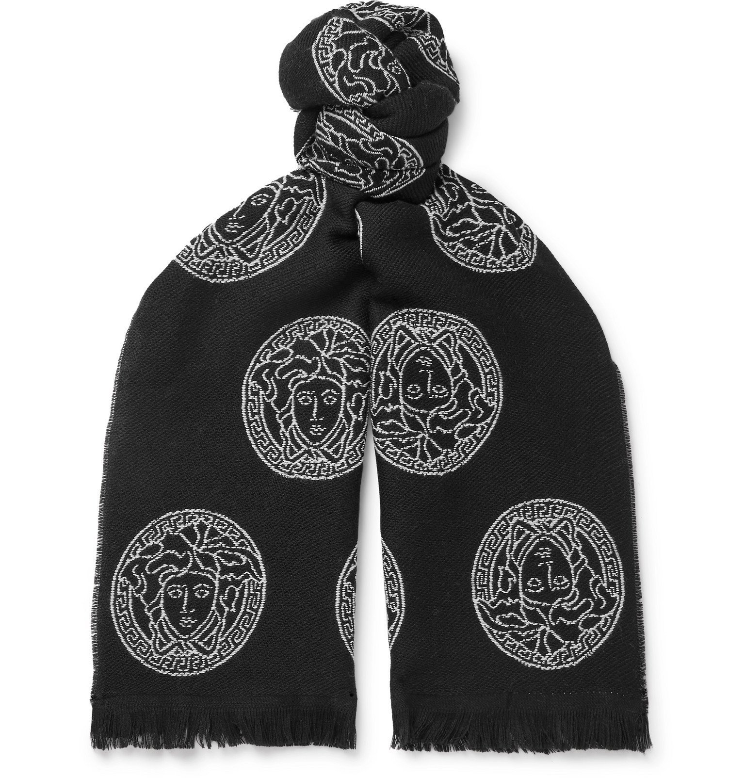 Photo: Versace - Logo-Embroidered Wool Scarf - Black