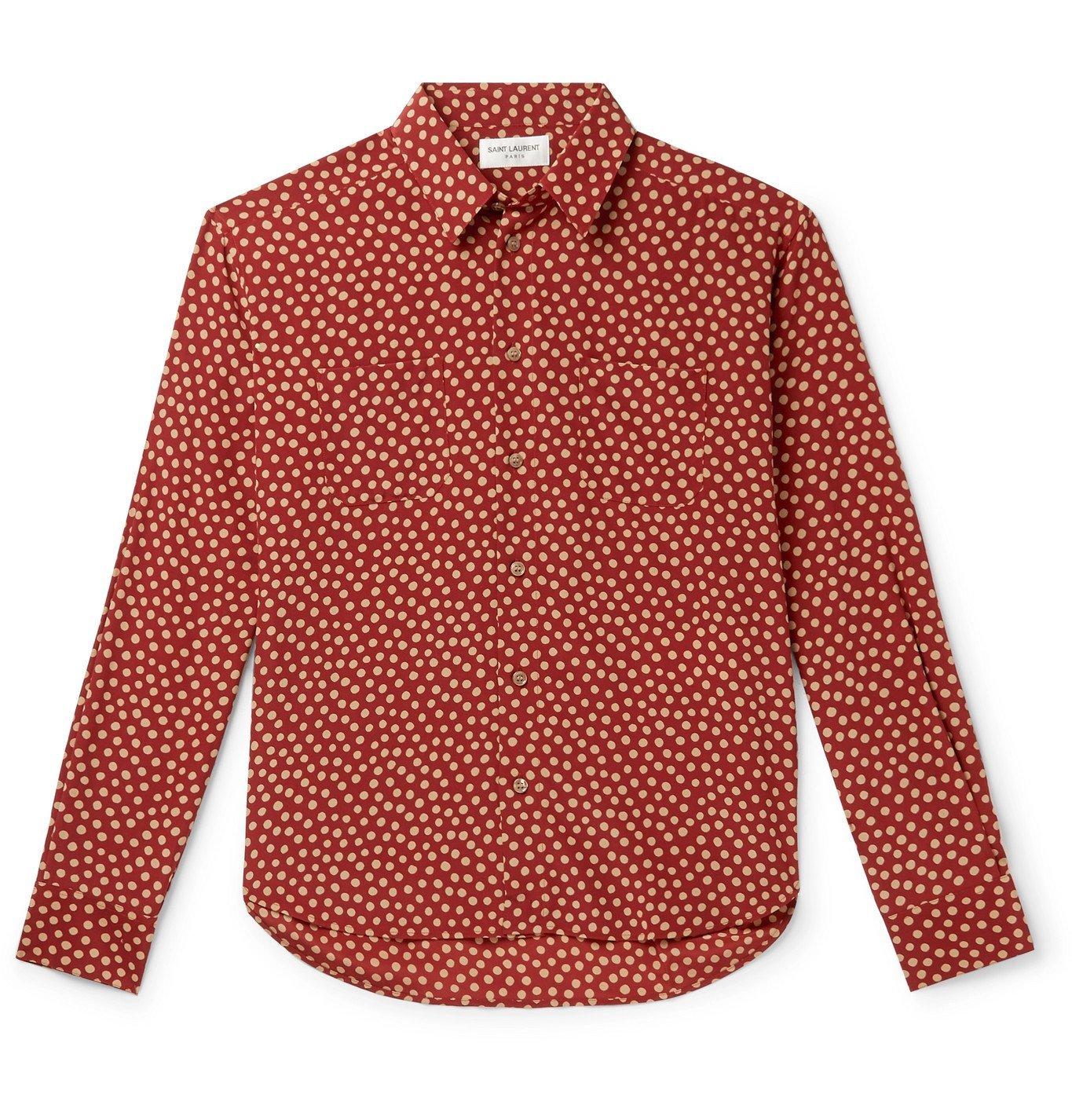 Photo: SAINT LAURENT - Polka-Dot Silk Shirt - Brown