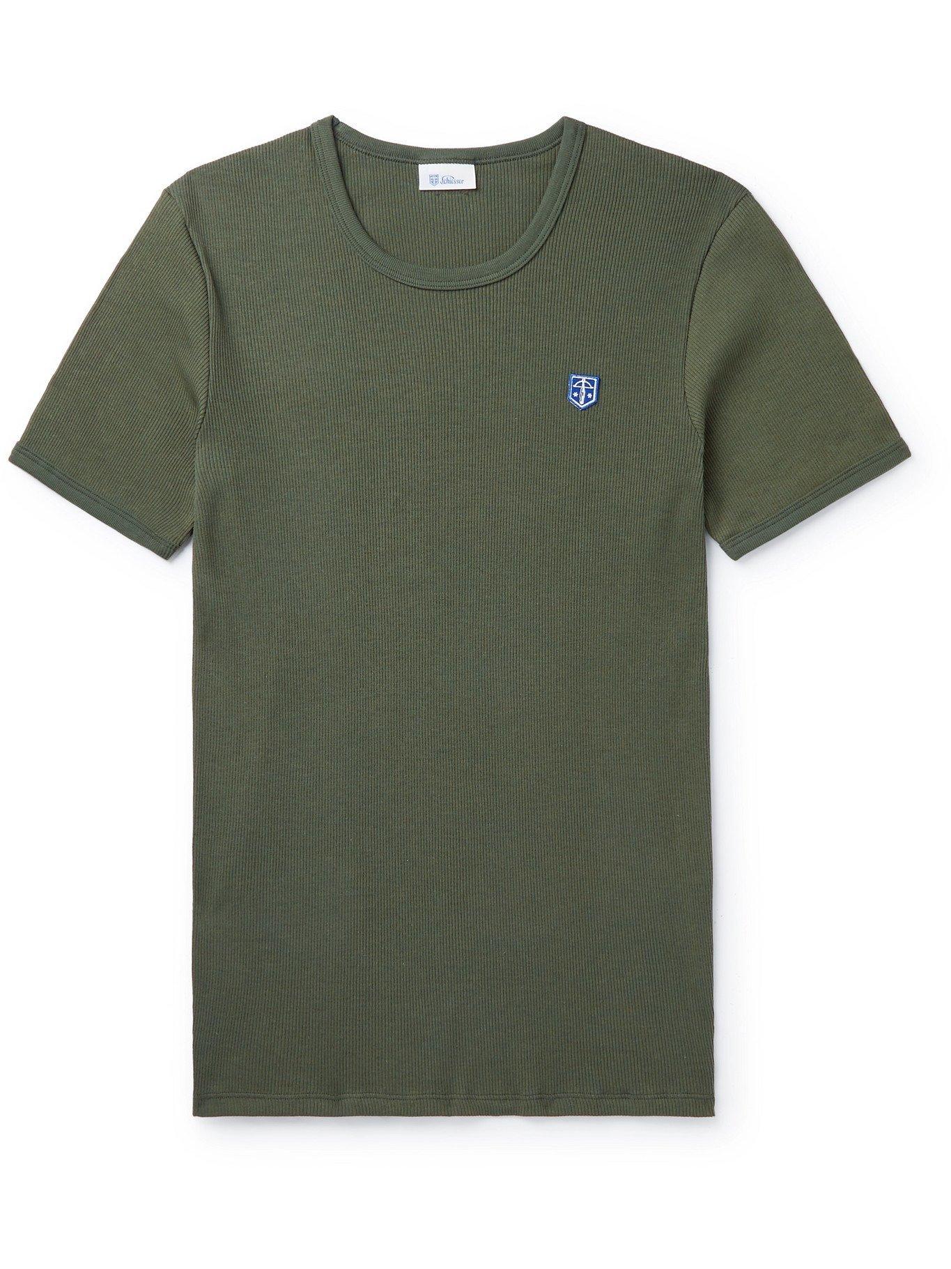 Photo: SCHIESSER - Friedrich Slim-Fit Logo-Appliquéd Ribbed Cotton-Jersey T-Shirt - Green
