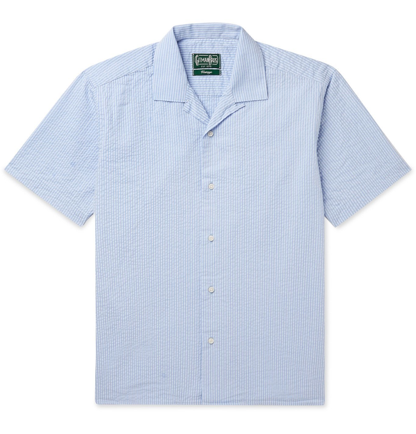 Photo: Gitman Vintage - Convertible-Collar Striped Cotton-Seersucker Shirt - Blue