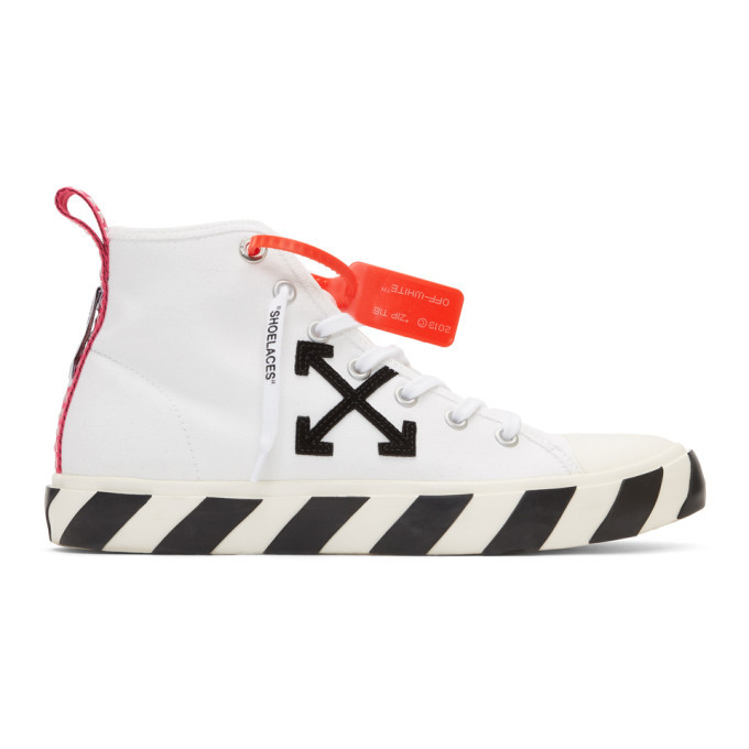 Photo: Off-White White and Black Arrows Mid-Top Sneakers