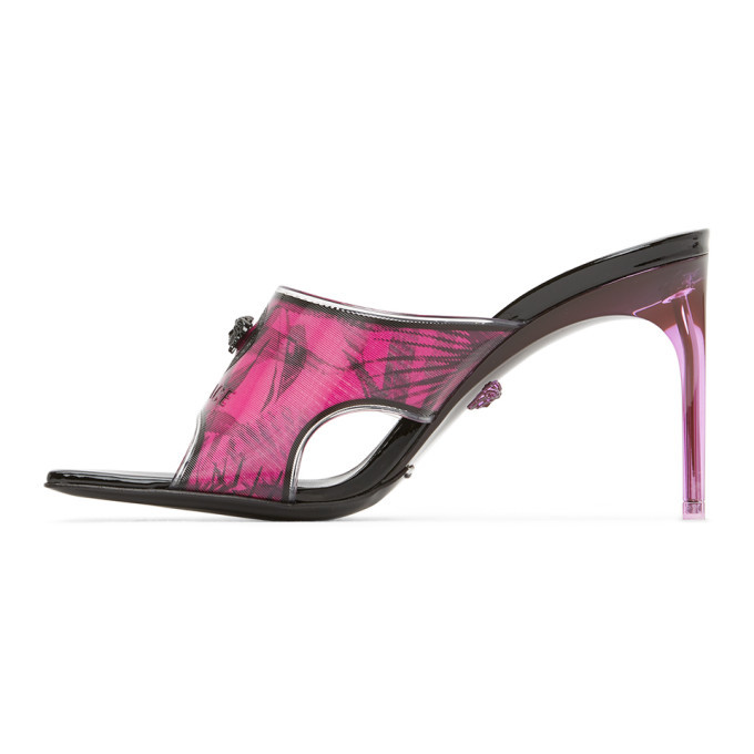 Versace Pink and Black Hologram Jungle Print Mules