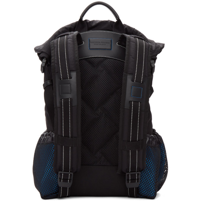 Bottega Veneta Black and Blue Nylon Small Backpack