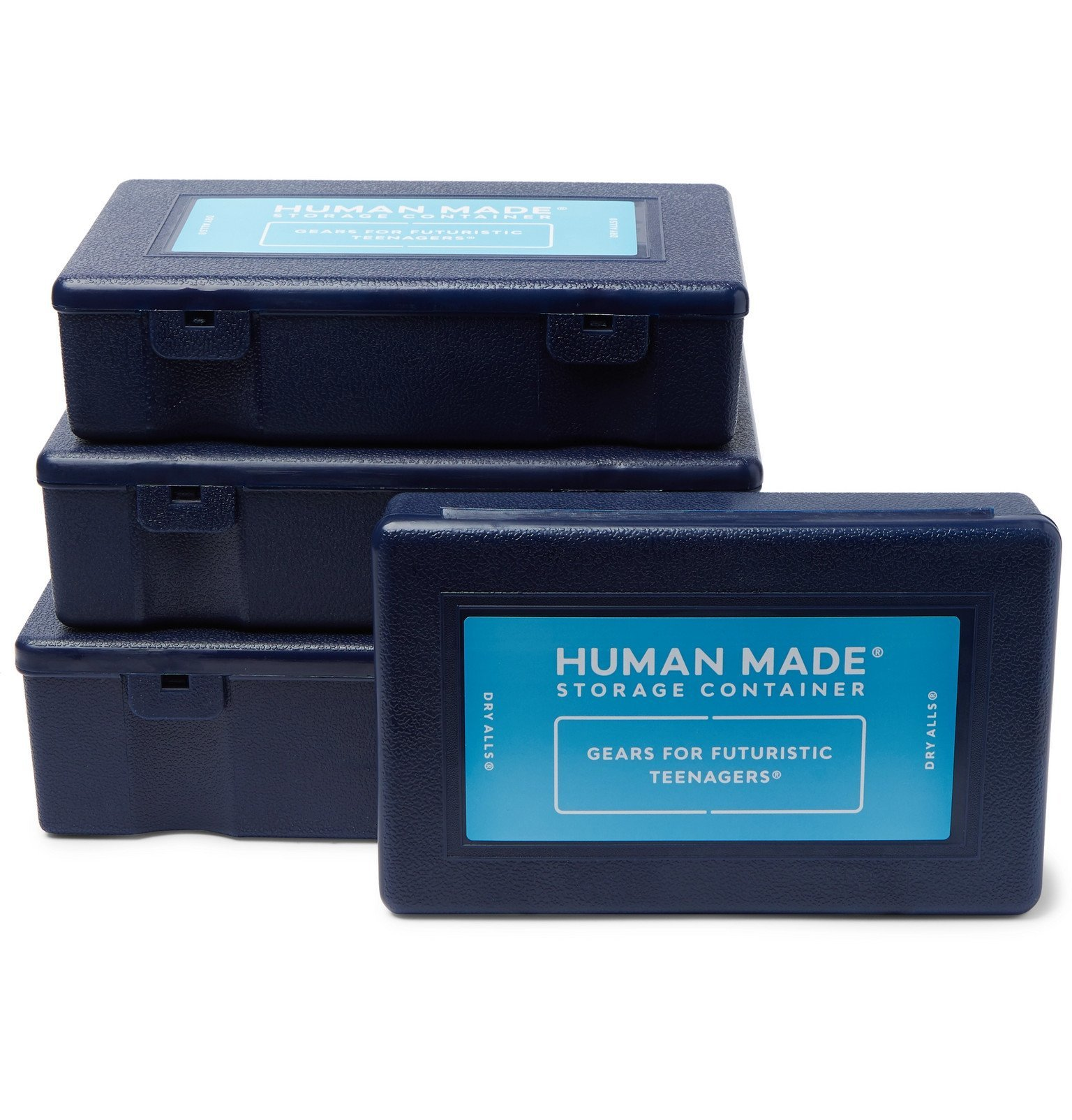 Photo: Human Made - 4 Pack of Logo-Print Plastic Containers - Blue