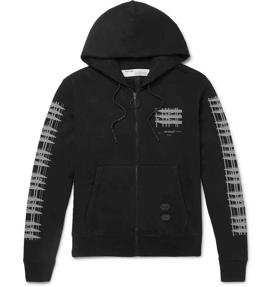 Photo: Off-White - Printed Loopback Cotton-Jersey Hoodie - Black