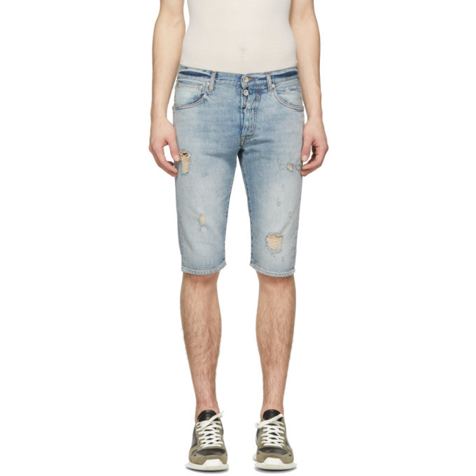 Photo: Unravel Blue Denim Dirty Distressed Shorts