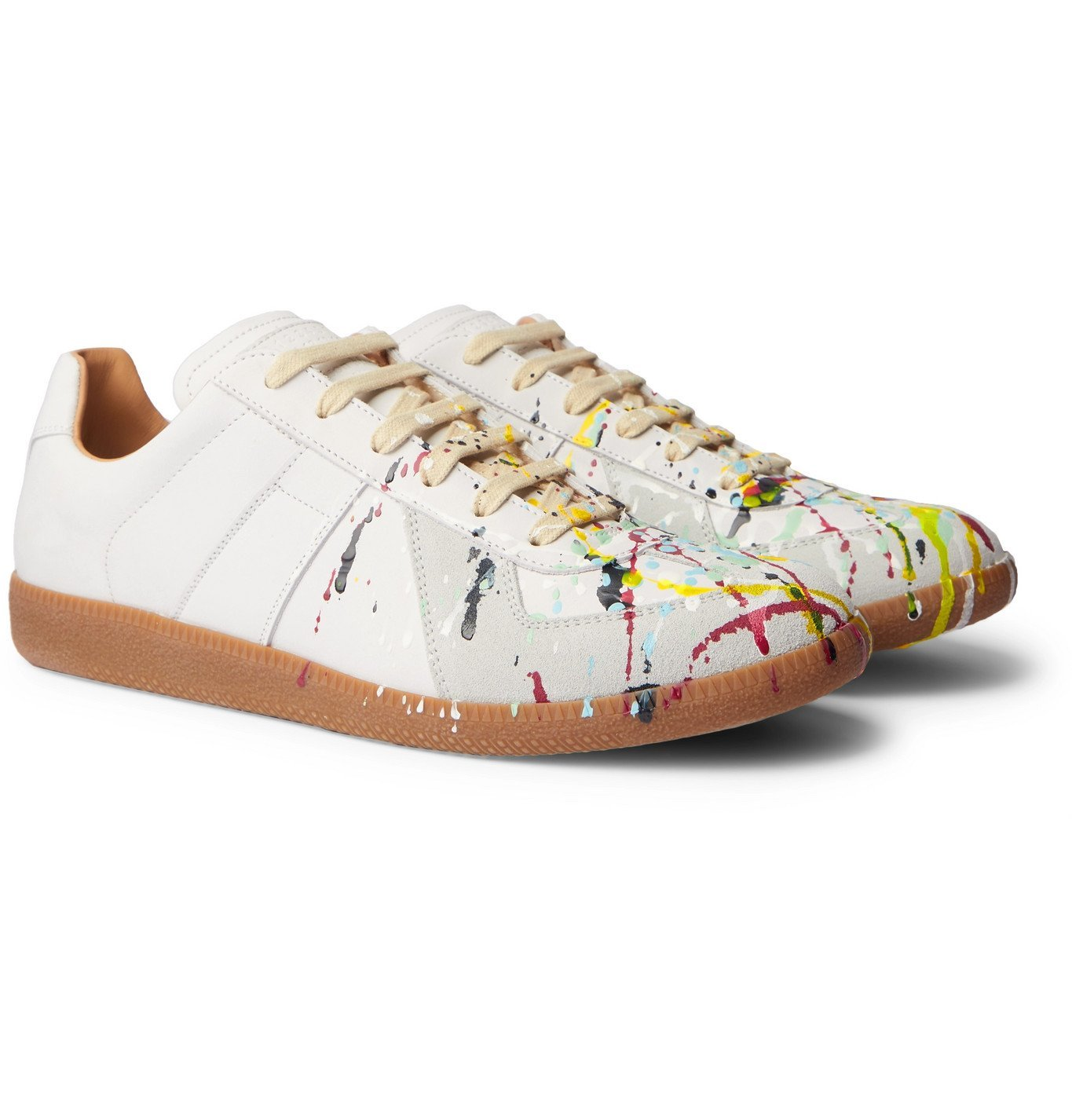 Photo: MAISON MARGIELA - Replica Painted Leather Sneakers - White