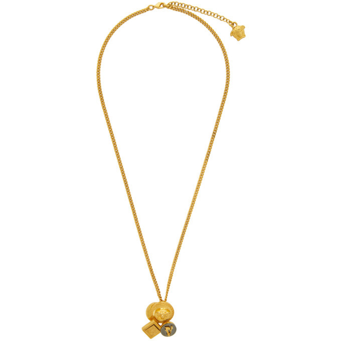 Versace Black and Gold Mix Pendant Necklace